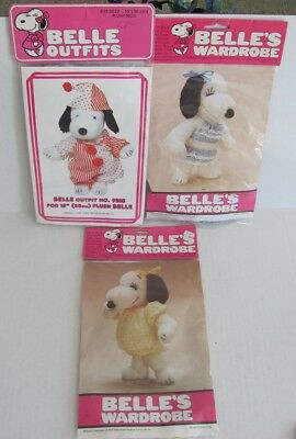 "3 Vintage SNOOPY Peanuts 15"" BELLE'S WARDROBE Outfits CLOWN, Pajamas, BIKINI"