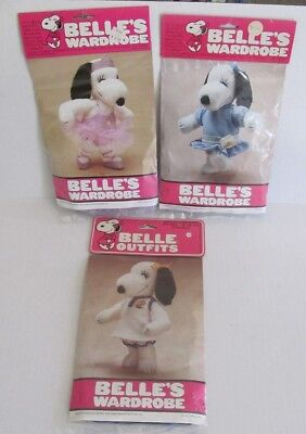 "3 Vintage SNOOPY Peanuts 15"" BELLE'S WARDROBE Outfits TENNIS, Ballerina, PARTY"