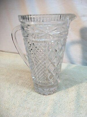 Vintage Wexford Clear Diamond Cut Crystal Pressed Glass Water Pitcher