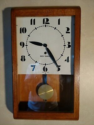 "vintage Seth Thomas ""Art Deco""- Large Face -solid   Oak Wind Up Clock"
