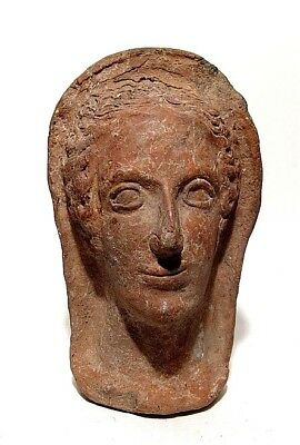 Greek terracotta Head of a woman 3rd - 2nd Century BC