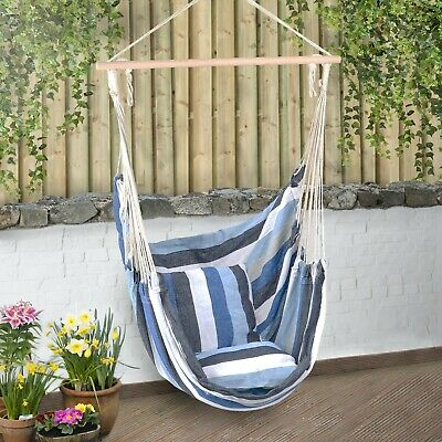 Large Garden Hammock Chair Hanging Swing Seat With Cushions Outdoor Christow