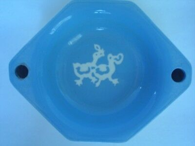 Vintage Baby's Warming Dish with Duck Design, Cornflower Blue Glazed Pottery