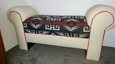 Leather Bench w/Pendleton Fab.New.5' Length,NativeAmerican Designed/Made.REDUCED