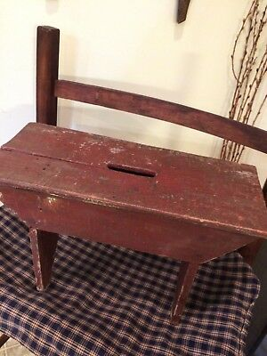 Primitive Red Bench Original Paint w/Carrying Hole