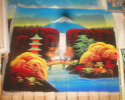 Lot of (3) Vintage 1950s Japanese ? Pagoda & Mountains Paintings Raw Silk? Cloth