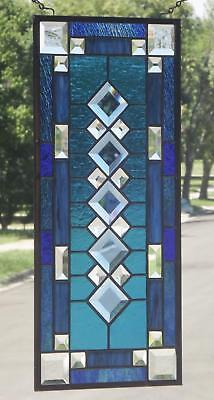 "• • Rhythm of Blues • •Beveled Stained Glass Window Panel • 21 3/8"" X 9 3/8"""