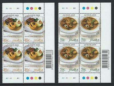 2005 MALTA Europa - Food Set in Blocks of 4 MNH (Scott 1202-1203)