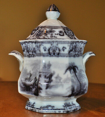 Lovely Antique Flow Mulberry Staffordshire Ironstone Sugar Bowl Davenport Cyprus