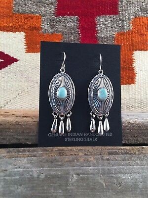 Native America handmade sterling silver earrings with Dry Creek turquoise