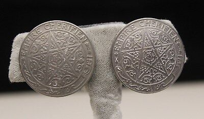 Rare silver plated Moroccan 1921 nickel coin 1 franc empire cherifien Earrings