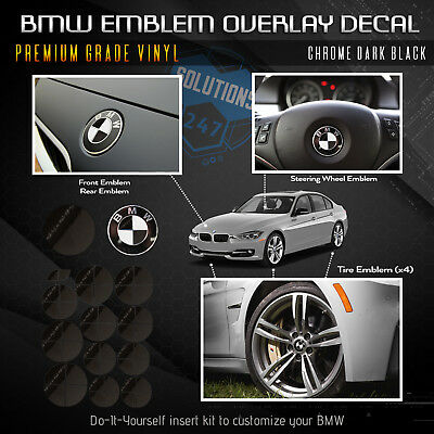 For BMW  ALL Emblem Overlay Sticker Decal Complete Set Pack - Chrome Mirror
