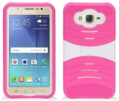 HOT PINK & WHITE U-Case Hybrid Cover Case for Samsung Galaxy J7 (2015)