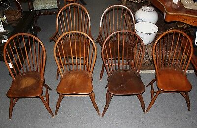 Set of 6 Early 1800's Original Bow Back Windsor Chairs w/ Chestnut Seats