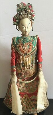 Antique Chinese Opera Theatre Imperial Doll Woman  Embroidered Jeweled L4