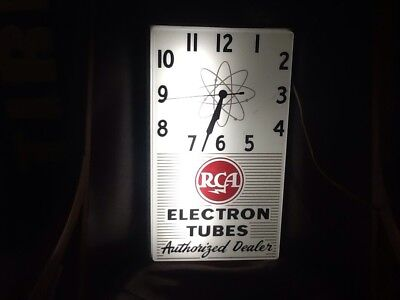RCA Electron Tubes Authorized Dealer Light Up Clock 1957! Great Item!