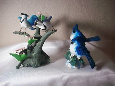 BEAUTIFUL Pre Owned Lot of 2 Blue Jay Figurines Spring & Winter