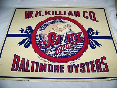 Vintage Sea-L-Tite Oysters Embossed Metal Sign - W.H. Killian CO.