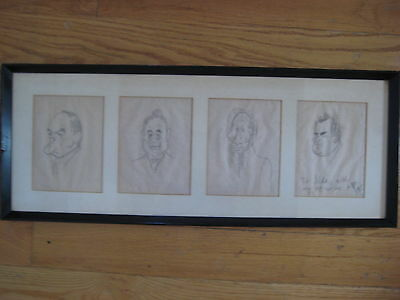 Antique Peb Pierre Bellocq 4 Original Cartoons Old Listed Horce Racing Important