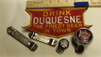 Original Duquesne beer patch lift bottle cap, valley forge tap handle, openers