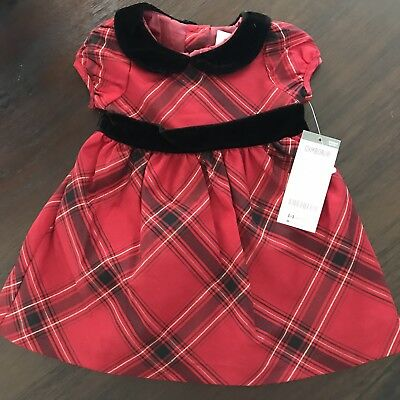 90e1817fe4ba9 Gymboree Infant Girls First Christmas Dress SIZE 0-3 M Red Black Plaid  Holiday