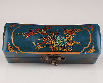 BLUE LEATHER DOWRY FLOWER BIRD ADORN WOOD JEWELRY BOX old COLLECTABLE