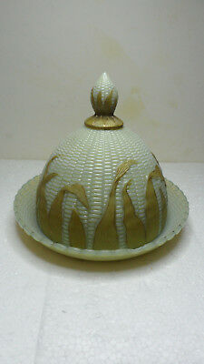 RARE & VINTAGE GLASS LIBBEY CORN MAIZE COVERED BUTTER with GOLD HUSKS 1880's