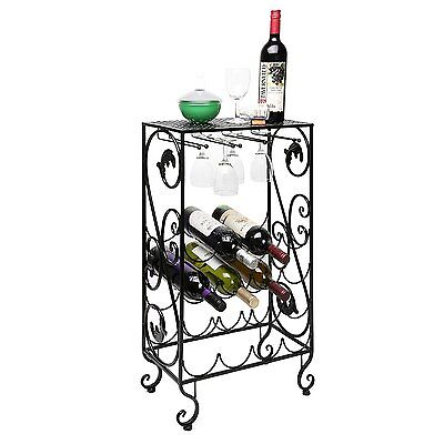 Wine And Glass Rack Bottle Motif Storage Display Bar Organizer Durable Metal NEW