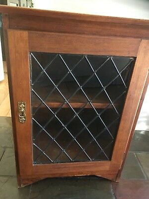 Old vintage leadlight antique timber decorative cabinet cupboard VIC 3199
