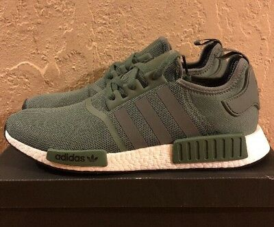 premium selection de72e be2c5 New Adidas Nmd R1 BY9692 Mens Trace GreenCargo White Size 14