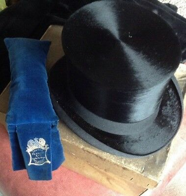 Antique Lincoln Bennett &Co Silk Top Hat With Branded Cleaner In Original Box