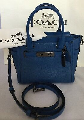 91c1b1fadb44 COACH 37444 Swagger 21 Carryall Handbag Pebble Leather DK Lapis NWT MSRP   350