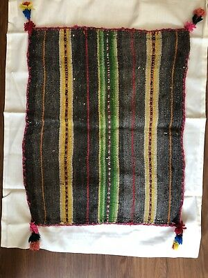 "Rustic Handmade  in South America Textile Fabric  (19"" X 16"")"