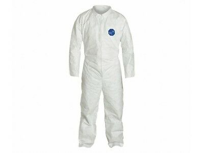 Collared Tyvek Suit Disposable Coverall, White, Zipper, 2Xl