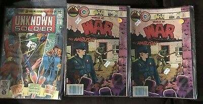 Classic War Comic Book Lot Unknown Soldier World At War DC Charlton Used