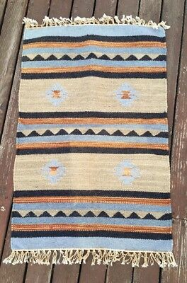 Vintage Native American Mexican Hand Woven Wool Rug 34 By 22