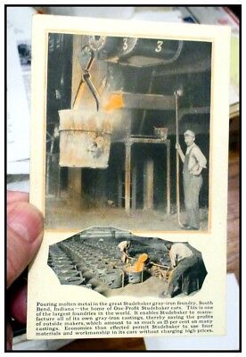 1920s Studebaker factory color post card featuring the foundry ORIGINAL