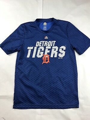 Boys Youth MLB Detroit Tigers Blue Majestic Blue Athletic Shirt Size XL 18
