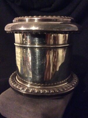"G.B. Dated 1910-35 Presentation 3 Pc. Silver Plated 3&1/2"" Covered Box Or Cup"