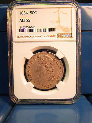 1834 50c Capped Bust Silver Half Dollar NGC CERTIFIED AU55