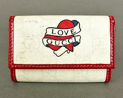 Authentic Gucci Heart Love Logo Gg Canvas 6 Hooks Key Case Key Holder