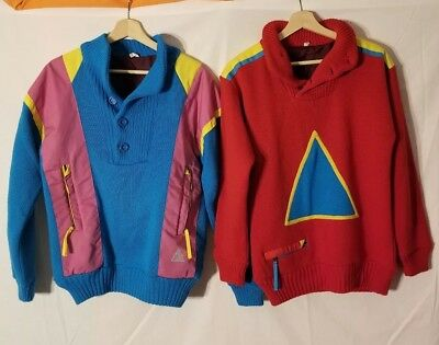 LOT OF 2 Vintage 90s SOS Retro Ski Sweater  Sportswear Sweden Wool