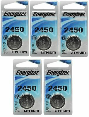 5 x Super Fresh Energizer CR2450 ECR 2450 3v LITHIUM Coin Cell Battery Exp. 2026
