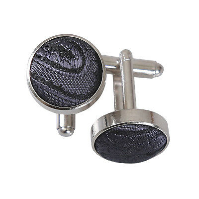 DQT Brass Fabric Inlay Cuff Links Floral Paisley Charcoal Grey Mens Cufflinks