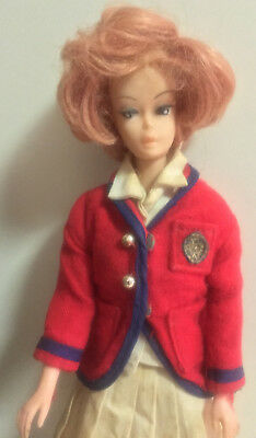 BARBIE vintage airline outfit 1950's unsure red jacket white pleat skirt
