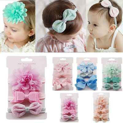 3Pcs Kids Headdress Set Newborn Baby Girl Bow Headband Ribbon Elastic Hair Band