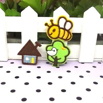 lovely bee house tree iron on/sew on fabric patches children diy Decor clothes