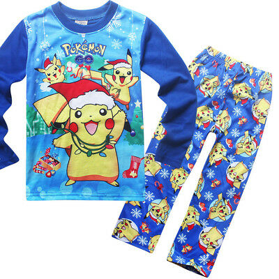 Baby Kids Toddler Girls Boys Pokemon Go Long Clothes Pajama Homewear Set Blue130