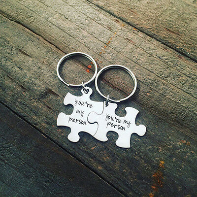 2pcs Puzzle You're My Person Key Ring Chain Keychain Lover Couples Keyring Gift