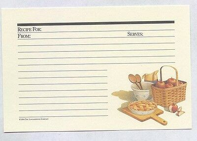 0 ship 24 Longaberger Basket Apple Pie Ecru Autumn 4 x 6 Recipe Cards in zip bag